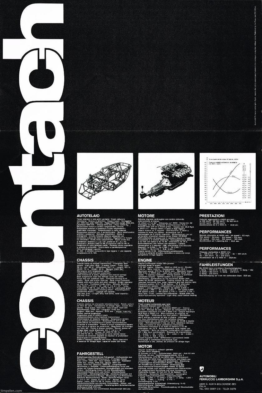 Scans Of Lamborghini Countach Lp400 Brochure 1974c1